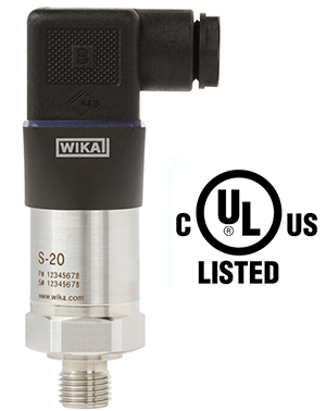 New S-20 pressure transmitter is UL listed